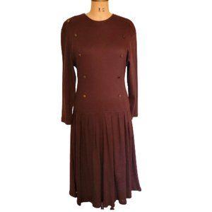 Vintage 80s midi pleated dress